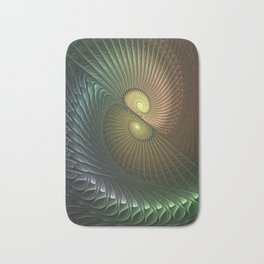 Fractal Spirals, Luminous And Psychedelic Bath Mat