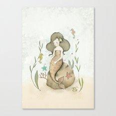 Mermaid, seahorses and a crab. Canvas Print
