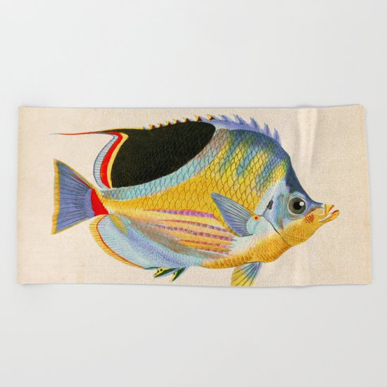 Yellow Fish Beach Towel