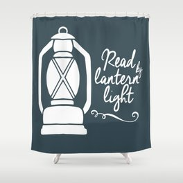 Read By Latern Light - Green Shower Curtain