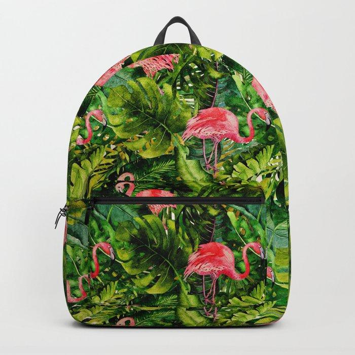 Aloha- Tropical Flamingo Bird and Palm Leaves Garden Backpack