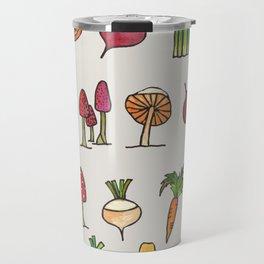 Vegetable Mushroom Fruit Pattern Travel Mug