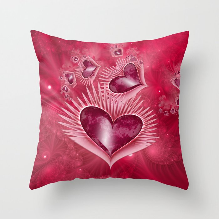 Girly Pink Hearts Throw Pillow by kirstenstar Society6