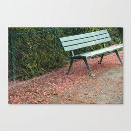 Paris Bench with Blossoms Canvas Print