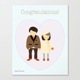 Congratulations! Couple's Engagement / Wedding / Anniversary Portrait - Illustration Print Canvas Print