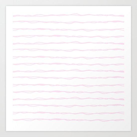 Simply Wavy Lines in Desert Rose Pink Art Print