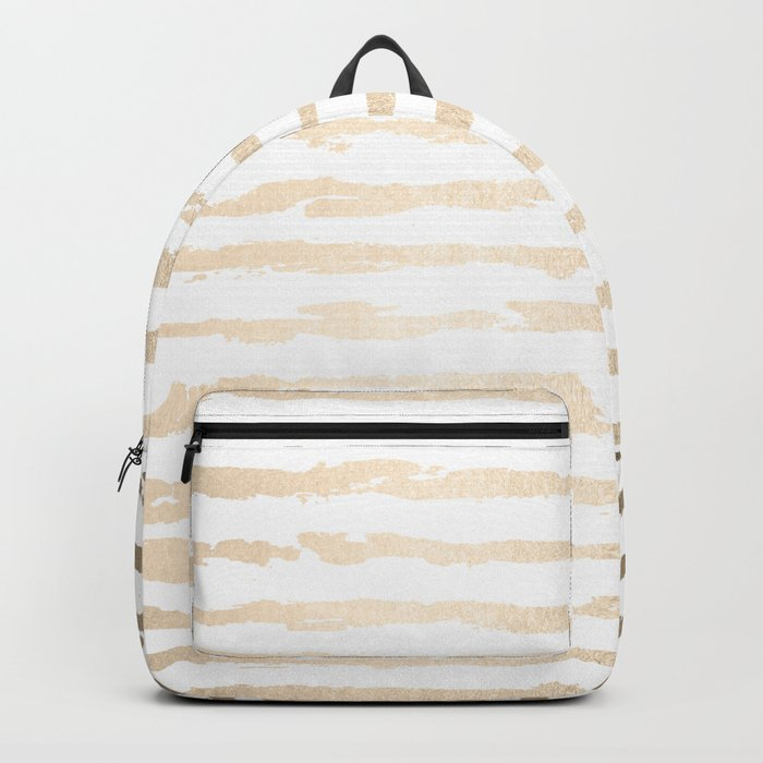 Simply Brushed Lines White Gold Sands on White Backpack