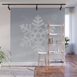 Typographic Snowflake Greetings - Silver Grey Wall Mural