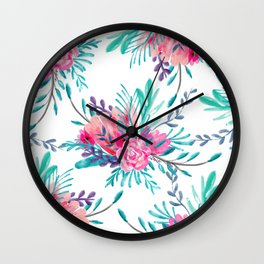 Modern hand painted pink turquoise floral watercolor pattern Wall Clock