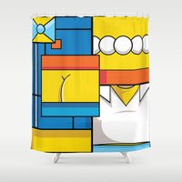simpson Shower Curtains featuring Abstract Simpson by REMart