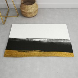Black and Gold grunge stripes on clear white background - Stripe - Striped Rug