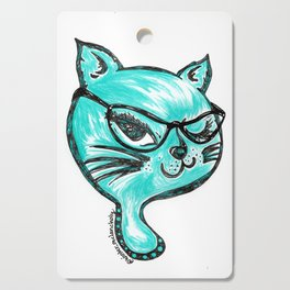 Winking Kitty Glasses Teal Cutting Board