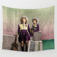 puppies Wall Tapestries featuring The Country Collies by Peter Gross