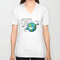 physics V-neck T-shirts featuring Physics Makes the World Go 'Round! by awkwardyeti