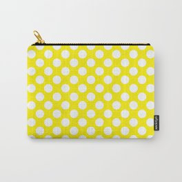 White Polka Dots with Yellow Background Carry-All Pouch