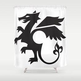dragon - black Shower Curtain