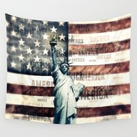 patriotic Wall Tapestries featuring Vintage Patriotic American Liberty by politics