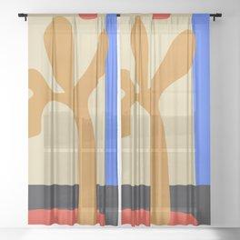 abstract minimal tree Sheer Curtain