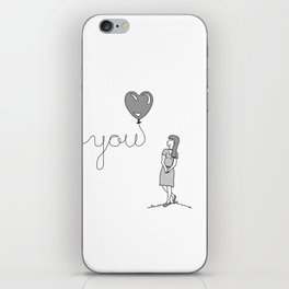 Miss You (WOMENS) Couples T-Shirt iPhone Skin