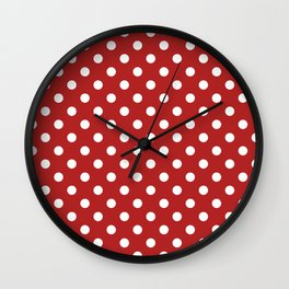 Small Polka Dots - White on Firebrick Red Wall Clock