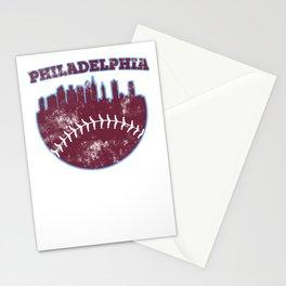 Philadelphia PA Baseball Skyline Vintage Retro graphic Stationery Cards