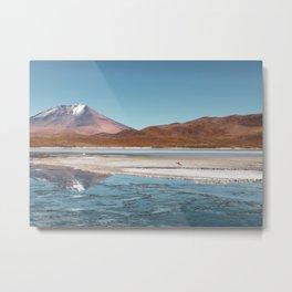 Volcano Reflections in the Bolivian Desert Metal Print