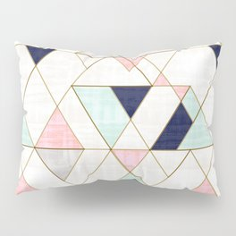 Mod Triangles - Navy Blush Mint Pillow Sham