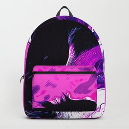 bernese mountain dog vector art purple pink Backpack