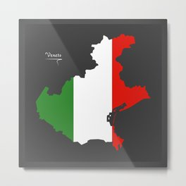 Veneto map with Italian national flag illustration Metal Print