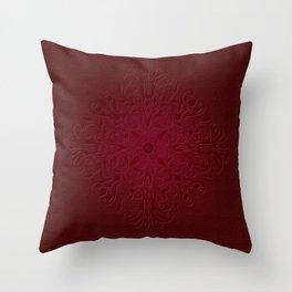 Red Leaf Mandala Throw Pillow