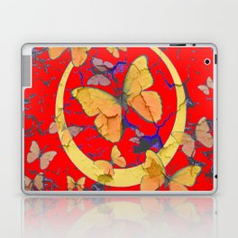 SHABBY CHIC GOLDEN BUTTERFLIES & RED ABSTRACT ART Laptop & iPad Skin