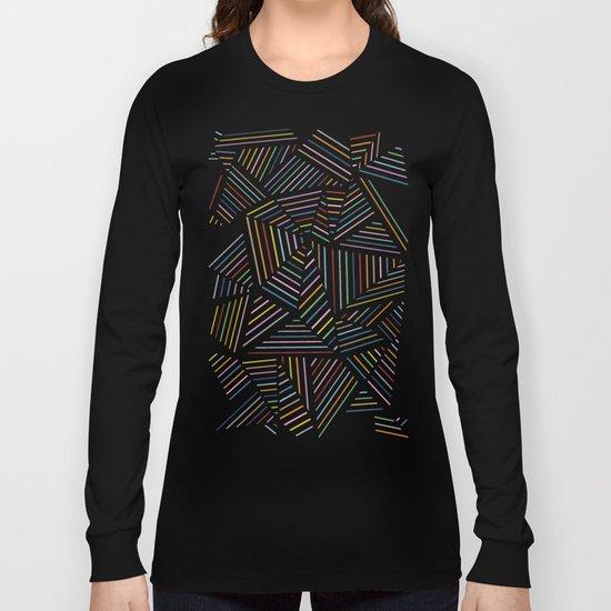 Ab Linear Rainbow Black Long Sleeve T-shirt