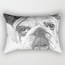 Portrait Of An American Bulldog In Black and White Rectangular Pillow