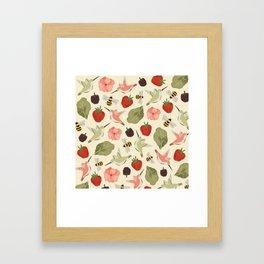 Hummingbirds in the Garden Pattern Framed Art Print