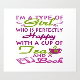 Girl with a cup of tea and a book Art Print