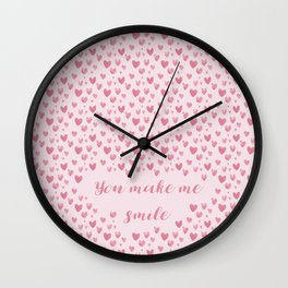 You Make Me Smile - Hearts Pattern Wall Clock