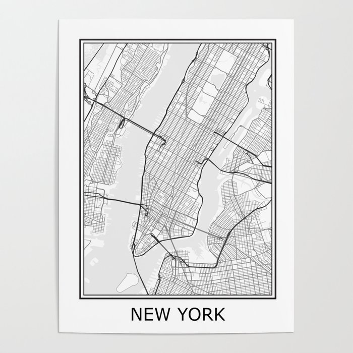 New York Map Black And White.New York City Map Black And White Poster By Ihabdesign Society6