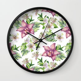 Orchids. White pattern Wall Clock