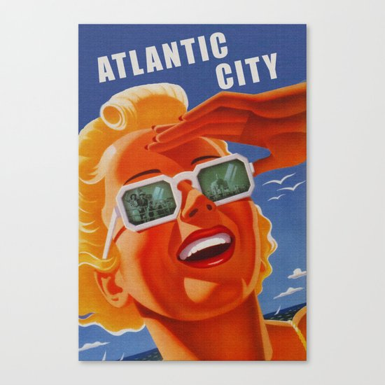 Vintage Atlantic City NJ Travel Canvas Print