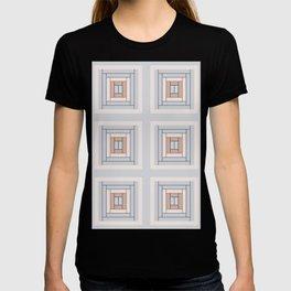 Modern Life (Large) Pattern Blue Grey Rust T-shirt