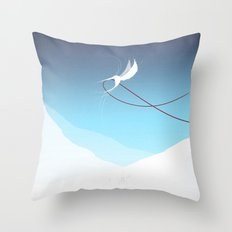 Hummingbird and a red thread Throw Pillow