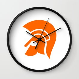 Ancient Spartan Soldier Helmet Red Orange Wall Clock