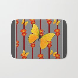 YELLOW BUTTERFLIES ORANGE POPPY FLOWERS BLACK ART Bath Mat