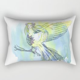 Watercolor illustrations. The girl - a bird of happiness. Rectangular Pillow
