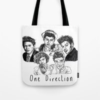 one direction Tote Bags featuring One Direction by Hollie B