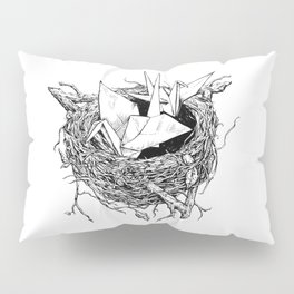 birds made of paper in a nest Pillow Sham