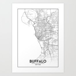 Minimal City Maps - Map Of Buffalo, New York, United States Art Print