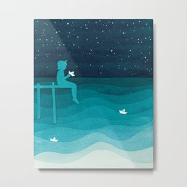 Boy with paper boats, watercolor teal art Metal Print