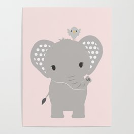 Elephant with Pink Background Poster