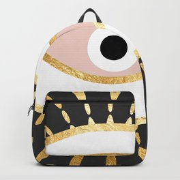 gold foil evil eye in blush Backpack